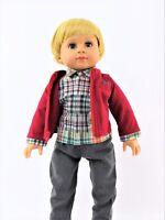 """Red /& Black Plaid Shirt /& Tan Pants fits 18/"""" American Girl Doll Clothes Boy"""