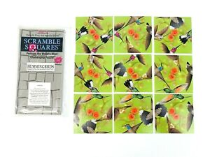 """Scramble Squares Hummingbirds 12"""" x 12"""" Difficult Jigsaw Puzzle Good Condition"""