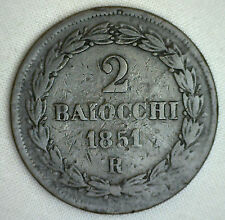 1851 VI R Italian States PAPAL STATES 2 Baiocchi Muraiola KM#1344 Copper YG #P