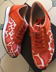 Mimco Brand New Sunset Orange Leather Sneakers Heels Wedges Shoes 37 Or 6