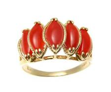 GENUINE NATURAL MARQUISE RED CORAL RING SET IN SOLID 14K YELLOW GOLD