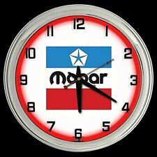 "16"" MOPAR Old Logo Sign Red Neon Clock Man Cave Garage"