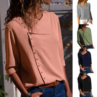 Women's Long Sleeve V-neck Irregular Button Chiffon T Shirts Fashion Tops Blouse