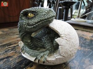 RAPTORS DAWN, HATCHING DINOSAUR EGG FIGURINE. Very Detailed, Dragon T-Rex Raptor