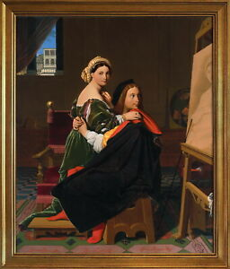 Classic Framed Jean Auguste Dominique Ingres Raphael Giclee Canvas Print