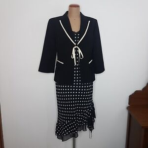 Anthea Crawford Collection Y2K Dress Jacket Suit Black White Polka12 MOTBride