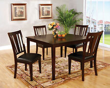 Modern Espresso Dining Room 5pc Dining Set Table Chairs Leatherette Padded Chair