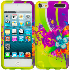 Purple Love Flower Hard Snap-On Rubberized Case Cover for iPod Touch 5th Gen 5G