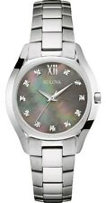 Bulova Diamonds 96P158 Grey Mother Of Pearl Dial Stainless Steel Women's Watch