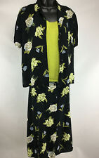 Sag Harbor Womens 2PC Top and Skirt Set Black with Floral Design