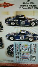 DECALS 1/32 REF 614 ALPINE RENAULT A110 MOUTON RALLYE MONTE CARLO 1976 RALLY WRC