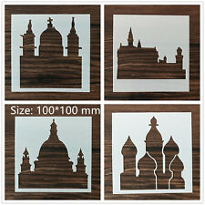 4 Pcs Packed Castles Cookie Cake Stencil Decorate Mold Fondant Biscuit Tool