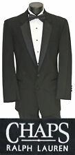 Men's Black Chaps Ralph Lauren Tuxedo Jacket with Flat Front Pants Bow Tie
