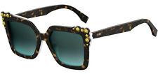 Fendi Can Eye Havana Oversize Sunglasses w/ Conical Stud Detail 0260S - Italy