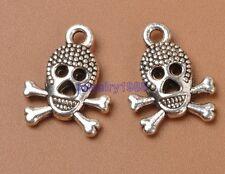 30pcs Tibetan Silver Charm pirate skull Pendant Accessories 16x13mm F3328