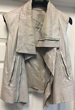 Rick Owens Solid Silver Lamb Leather Motorcycle Jacket Vest Zipper Sz 42 S
