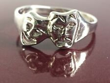 Vintage Sterling Silver Comedy Tragedy Ring Size 8.5