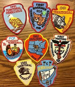 Vintage Royal Rangers Patch 8 Lot FCF Trappers Territorial Rendezvous ALL 1981