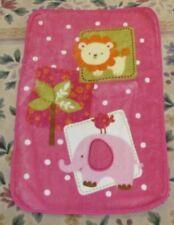 Pink Jungle Animals lion Elephant Luxury plush fleece baby blanket