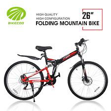 "26"" 21 Speed Folding Mountain Bike Bicycle Shimano Derailleur MTB Black + Red"