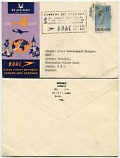 URUGUAY 1960 FIRST FLIGHT COMET 4 BOAC to LONDON + AIRMAIL HANDSTAMP