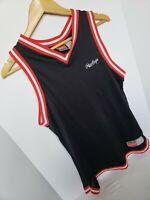 Vintage 90s Rawlings Tank Top Jersey Blank Black Red White Stripe Mesh Festival