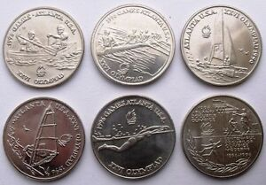 ROMANIA SET  kms 120 126 lot of 6 coins ATLANTA '96 UNC ROMANIAN 1996 coin set