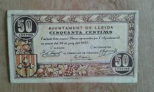 Used -BILLETE DE 50 CÉNTIMOS DEL AJUNTAMENT DE LLEIDA  - Usado