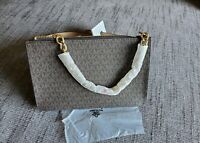 Michael Kors Brown Logo Pull Gold Chain Statement belt bag Size large NWT