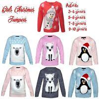 Girls Kids Novelty Christmas Xmas 3D Snowman Polar Bear Snow Knit Sweater Jumper