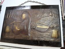 Rare Antique Russian Avant Garde Art Deco relief handcarved copper wood girl