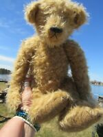 "VINTAGE TEDDY BEAR CURLY MOHAIR LONG ARMS 15"" ARTIST TAG MARIEL MAKING MEMORIES"