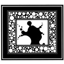 large unmounted rubber stamp art deco style, Splat / Bubbles #4