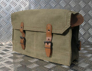 Genuine French Army Vintage Leather Lined Satchel Side Bag Pannier No Strap  G3