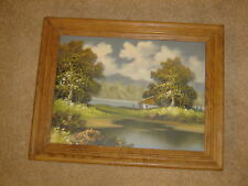 Pond LAKE trees landscape original oil PAINTING 1970-80