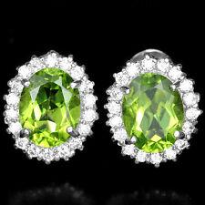 Sterling Silver 925 Oval Genuine Natural Peridot & Lab Diamond Stud Earrings