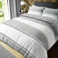 Sleepdown Grey Banded Stripe King Size Duvet Cover Set. Easy Care And Super Soft