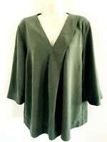 COS LAGENLOOK GREEN V NECK BOXY 3/4 SLEEVE BLOUSE TOP RELAXED FIT WOMENS SIZE 12