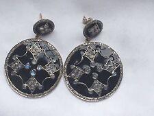 Piedra Lunar Diamante Pendientes Colgantes De Oro 14k Plata De Ley Esmalte