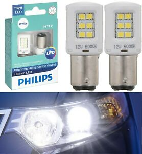 Philips Ultinon LED Light 1157 White 6000K Two Bulbs Rear Turn Signal Replace OE