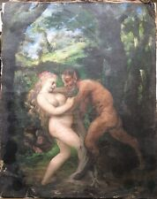 Rare 17th century Oil painting Bacchanal scene Nymph and Satyr TO RESTORE
