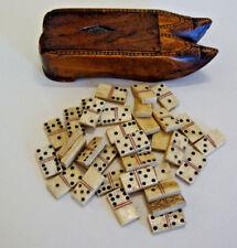 Antique French prisoner of war domino set in carved wood case form of pr shoes