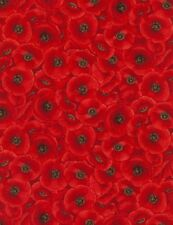 Timeless Treasures Chong-a Hwang Packed Poppies Cotton Fabric C5835 Red BTY