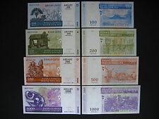 MADAGASCAR  100 + 200 + 500 + 1000 Ariary 2004 (2008)  (P86b - P89b)  UNC