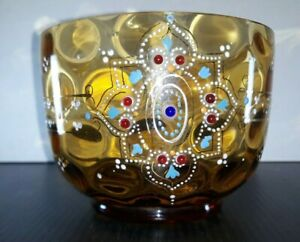 Vintage Bohemian Glass Finger Bowl Wine Glass Rinser Raised Decor. Jewelled