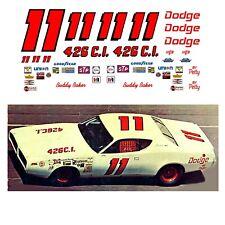 #11 Buddy Baker 1971 Dodge Charger decal 1/24 scale Monogram Revell Polar Lights