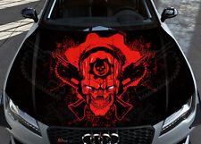 Skull Guns War Car Bonnet Wrap Full Color Vinyl Sticker Decal Fit Any Car