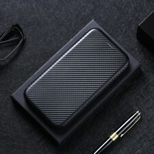 For Motorola Moto  Cover Magnetic Carbon Fiber Flip Leather Wallet Phone Case