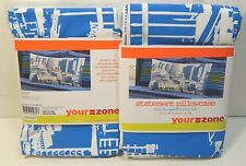 Your Zone Statement Pillowcase Blue Cityscape Set of 2 Standard Pillow Cases NEW