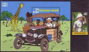 Belgium**TINTIN in Congo-SHEET + STAMP-2001-FORD Model T-Car-Giraffe-COMICS-MNH